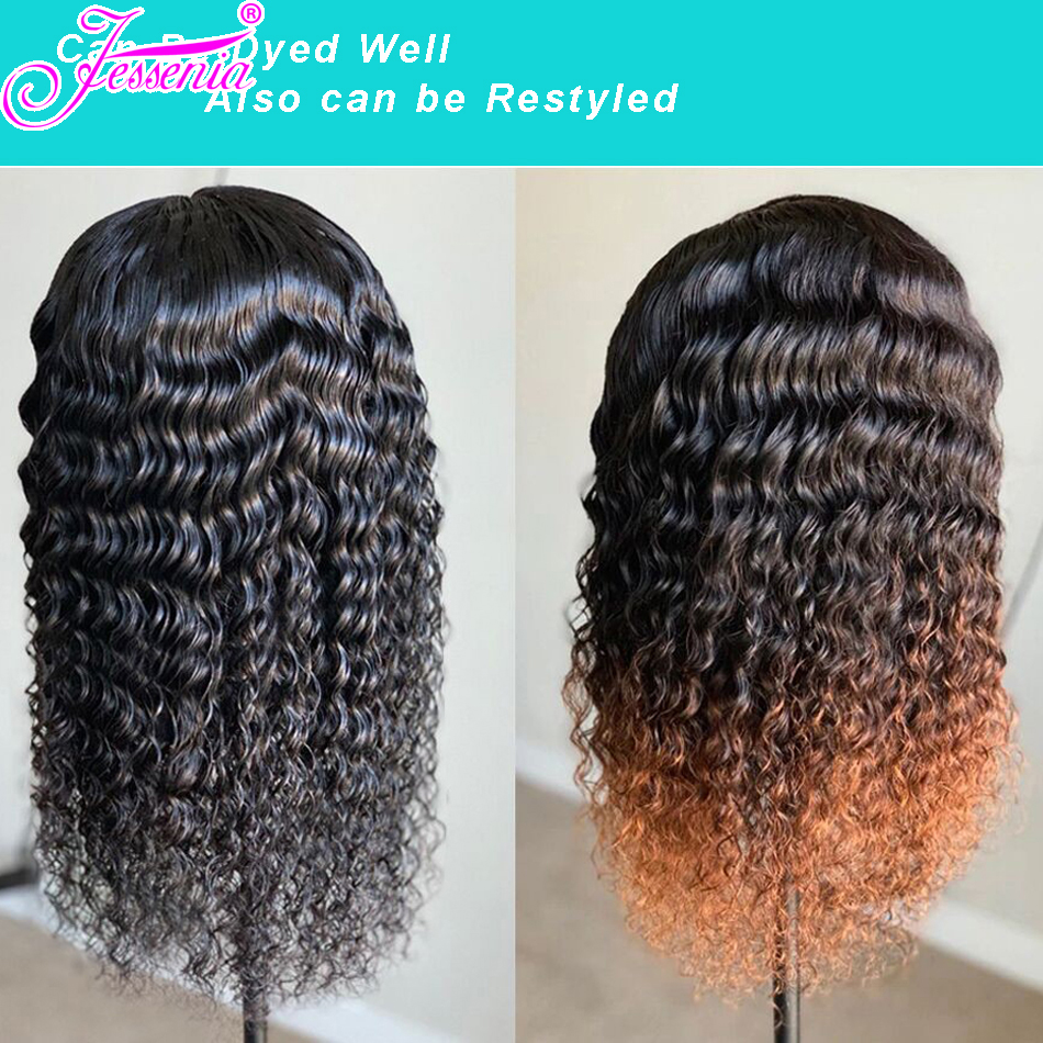 Brazilian Deep Wave 13x4 Lace Front Human Hair Wigs Ple Plucked For Black Women 150 Density Remy Lace Front Wigs in Lace Front Wigs from Hair Extensions Wigs