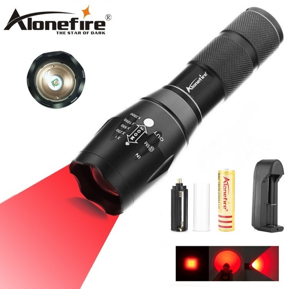 AloneFire E17 Zoomable Scalable CREE LED Red Light Flashlight Red Tactical Light hunting Red Light Torch For Fishing Detector