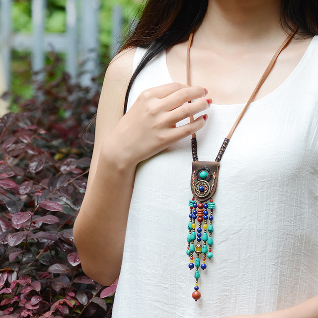 Handmade braided leather Himalayan necklace