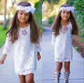 Hot Sale White Kids Baby Girls Princess Party Flower Lace Tutu Dress  Long Sleeve 2-11Y