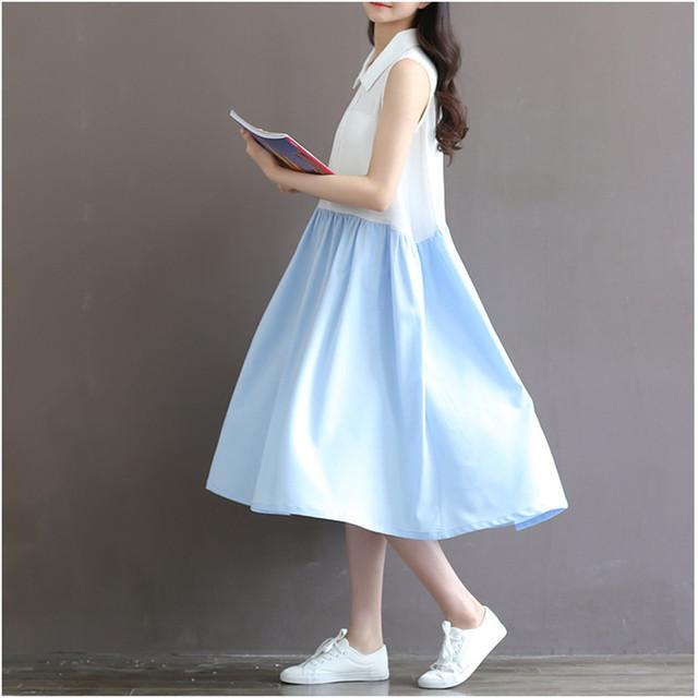 Nueva Moda Collar de la Muñeca de Maternidad Vestidos Vestido Lindo Del Verano de Calidad Superior Más Tamaño Ropa de Algodón Ropa de Embarazo