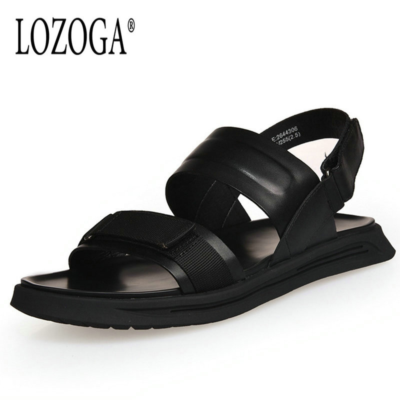 Lozoga Men Sandals Genuine Leather Luxury Quality Mens Leisure Beach Sandals Open Toe Summer Casual Shoes Comfy Brand Sandals