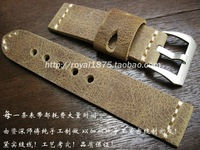 Hand Made Genuine Leather Watch Band Brown Strap Watch Band 22mm With Buckles