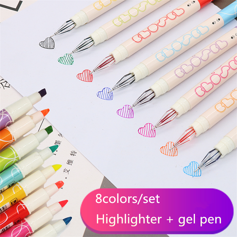 8 colors gel pen Double-headed writing Gel pen and highlighter combination School office note marker supplies