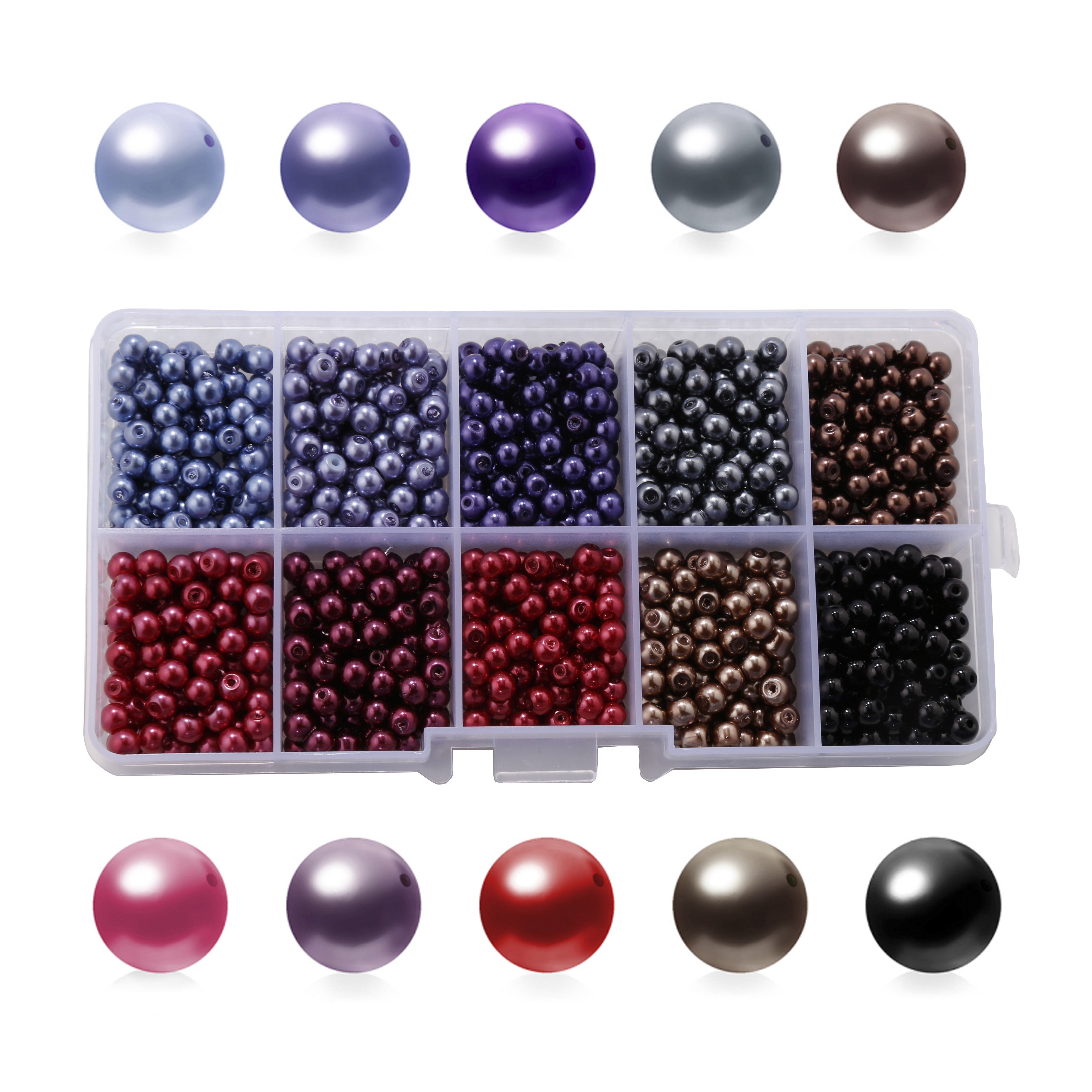 <font><b>1000</b></font> pcs/box 4mm Glass Pearl Paint Beads Round Bead Loose Scattered Bead Combination <font><b>10</b></font> colors/box DIY Jewelry Finding Wholesale image