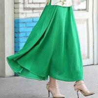 2016 New Fashion Summer Women Big Swing Skirts Bohemian Style Linen Knee Length Skirt