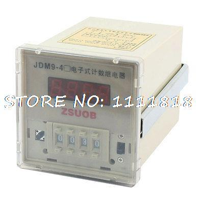JDM9-4 AC 220V Preset 1-9999 Count Up Programmable Digital Counter Relay free shipping dh48j ac dc 24v 50 60hz count up 8 pins 1 999900 digital counter relay