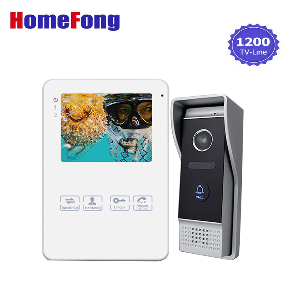 Homefong 4 Inch Video Door Phone Doorbell Intercom System HD 1200TVL White Indoor Monitor 1 Outdoor panel video goalkeeper стоимость
