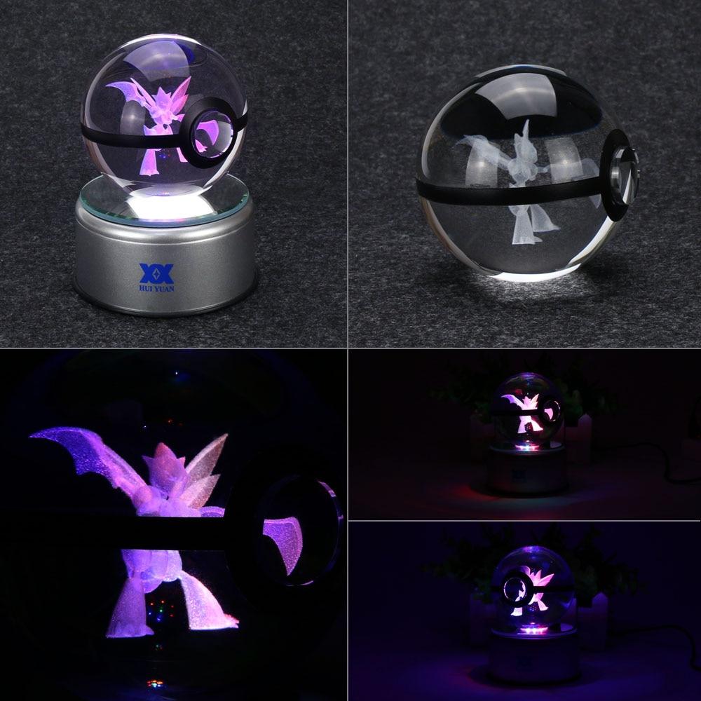 Mega Charizard X 3D Kristal Top Pokemon Cam Top LED Renkli Rotasyon - Gece Lambası - Fotoğraf 2