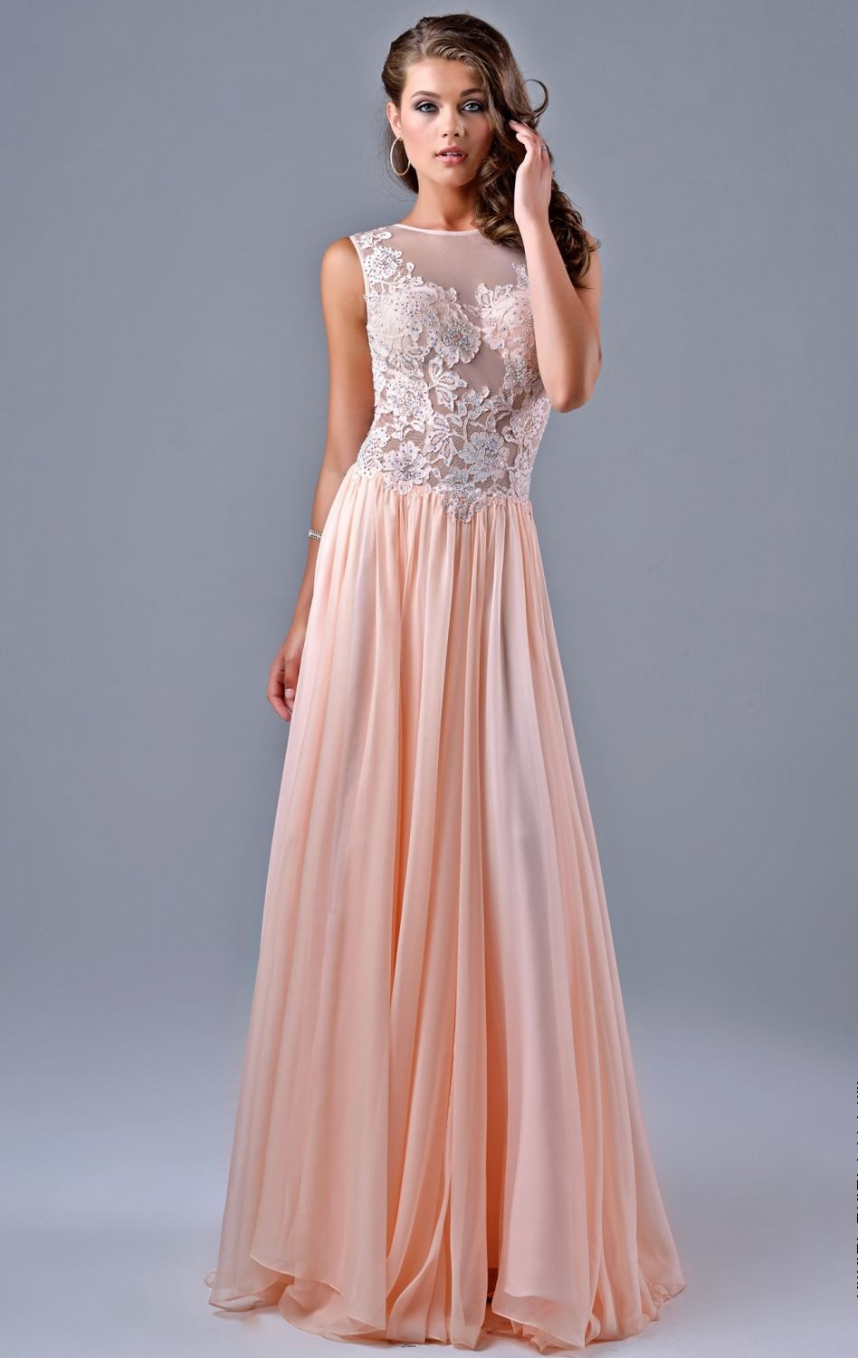 Free Shipping 2015 New Arrival Soft Pink Chiffon Prom Dress Low V