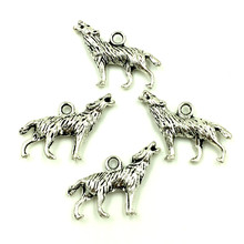 100Pcs Silver Tone Wolf Animal Breloque Charms Pendants DIY Crafts Jewelry Making 26x16mm