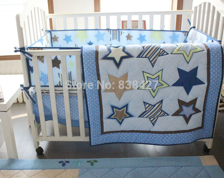 Bedding Sets Ups Free New 4 Pcs Stars Baby Bedding Set Baby Bed Linen Comforter Quilt Sheet Bumper Included Mother & Kids