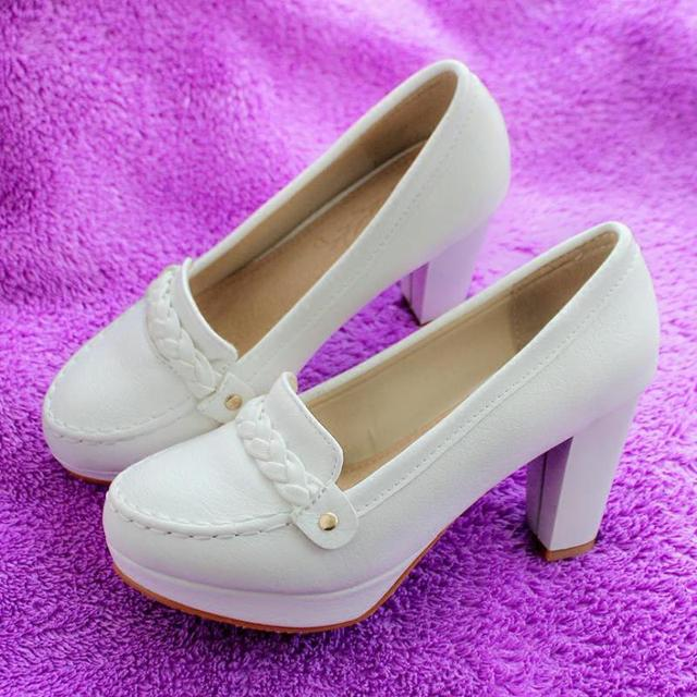 High Heels Shoes Thick Heel Women Shoes Round Toe Pumps Sy-1666
