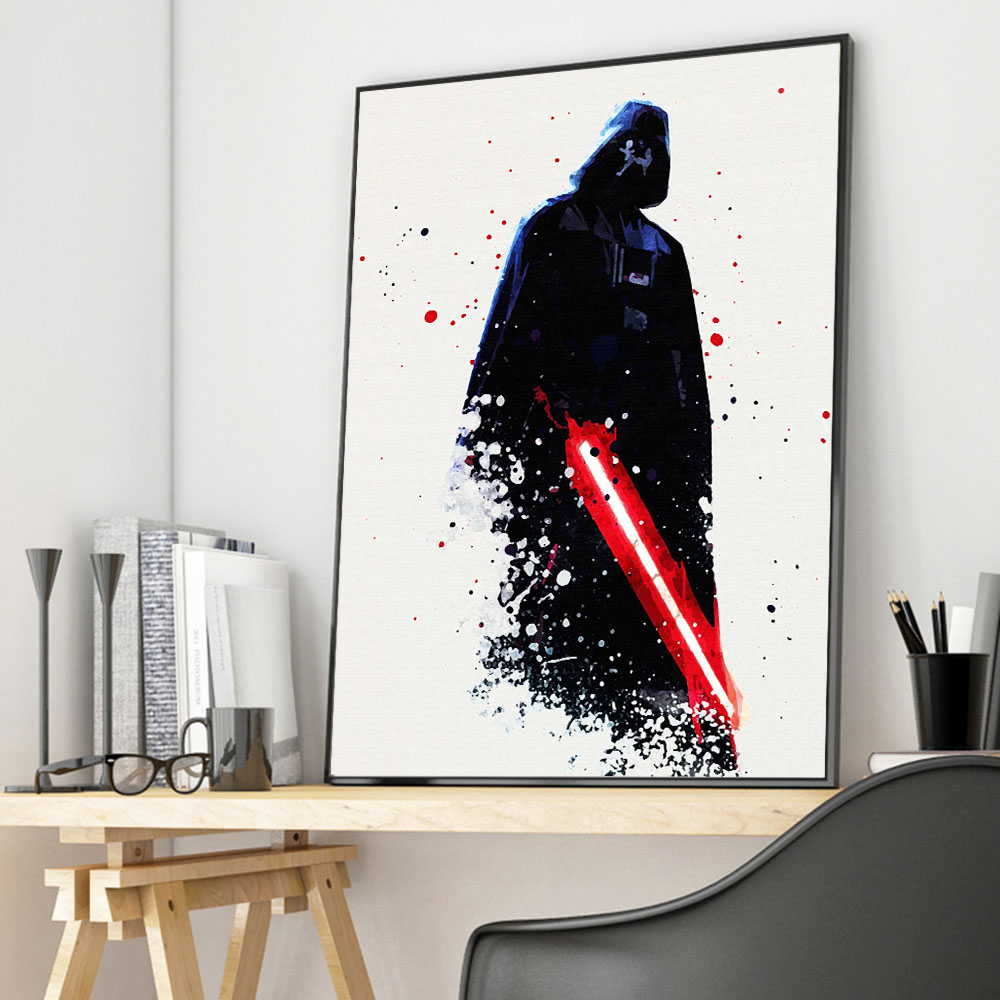 Watercolor Darth Vader Star Wars Canvas Posters Movie Prints Wall Art Painting Decorative Pictures for Living Room Home Decor image