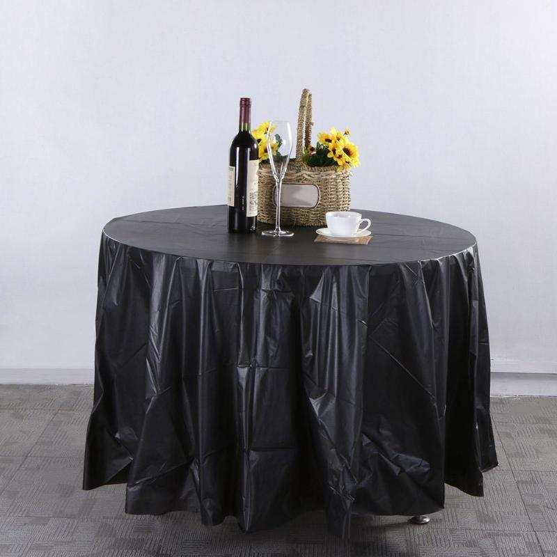84in Round Tablecloth Table Cloth Cover Waterproof Oilproof Plastic Home Wedding Party Camp Dinner Restaurant Banquet Decoration