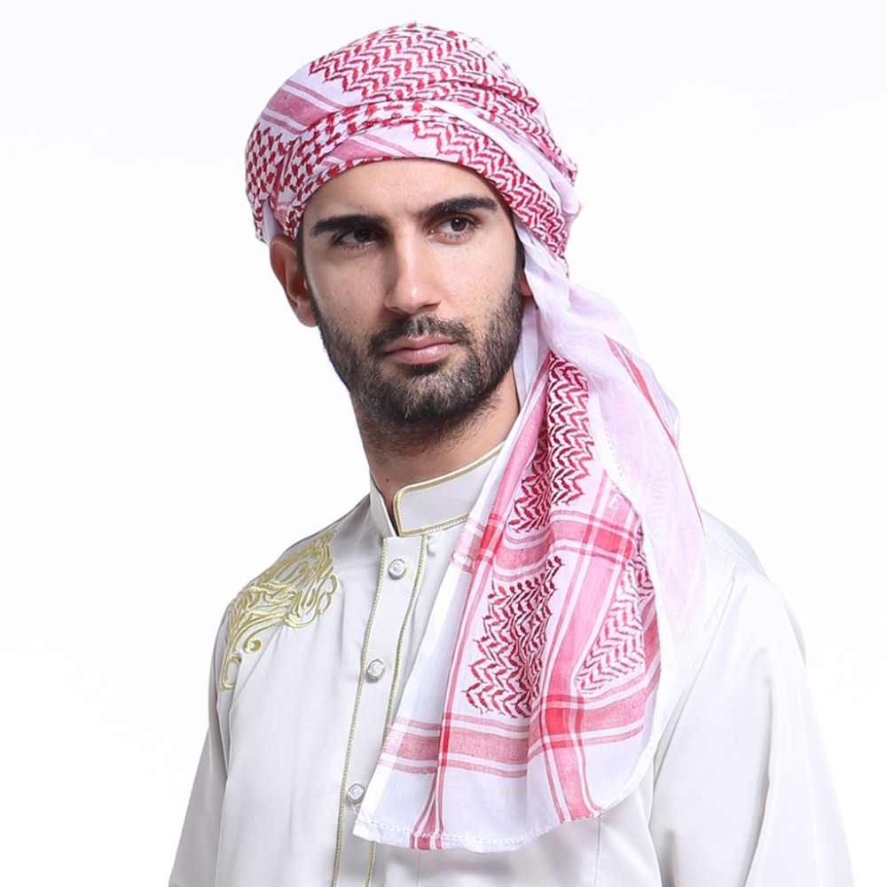 140x140CM Mens Headscarf Turban Hat Muslim Arab Dubai Retro Geometric Wavy Patterns Jacquard Square Scarf Shawl Islamic Hijab