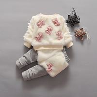 Autumn Winter Baby Girl Sweater Pullover And Pants Suit Cute Bow Pearls Toddler Girl Outfit Warm