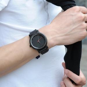 Image 3 - Bobo Vogel Ebbenhout Horloge Mannen Waterdicht Horloge Japanse Beweging Klok Eenvoudige Houten Band Polshorloge Relogio Masculino B P10
