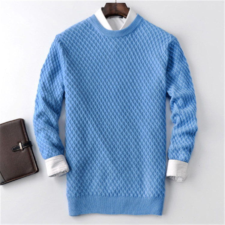 New Fashion 100%cashmere Twisted Knit Men Oneck Solid H-straight Pullover Sweater 5color S-2XL Retail Wholesale