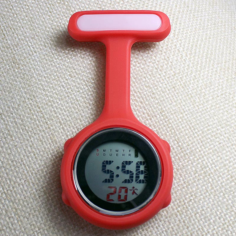 Digital Nurse Watch Fashion Silicone Medical Watches Lapel Doctor Brooch Pocket Watch LL@17
