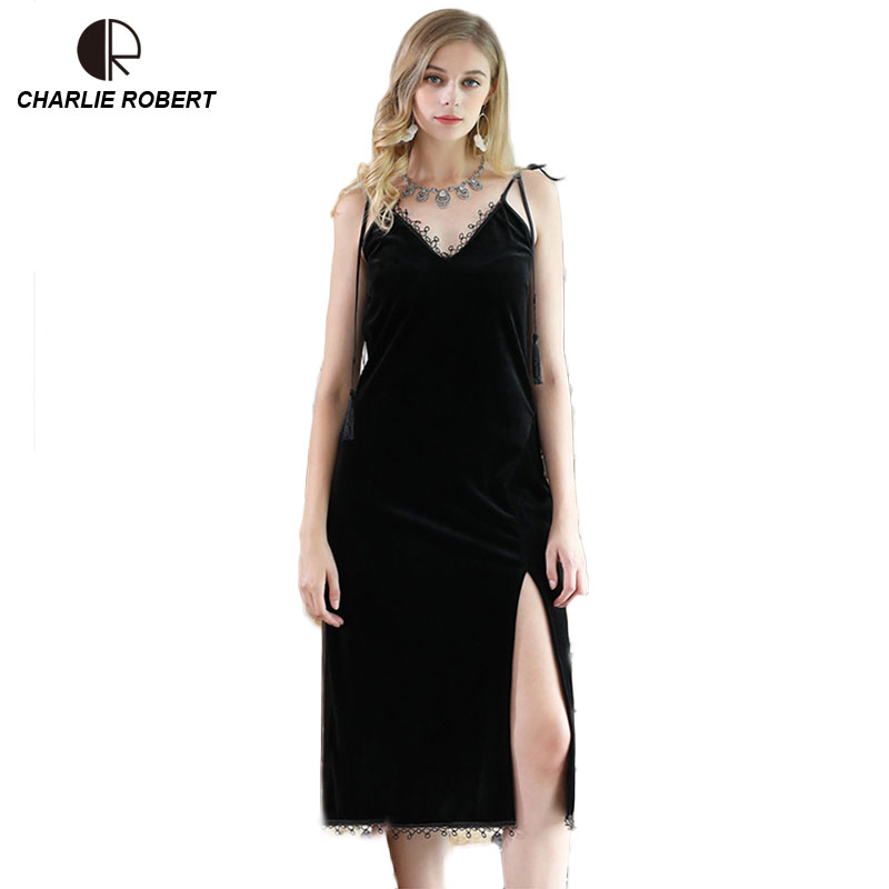 CR Fashion Women Sleepwear Lace Night Dress Backless V-neck Long Night Dress Sexy Nightgown Velvet Sexy Lingerie AP440