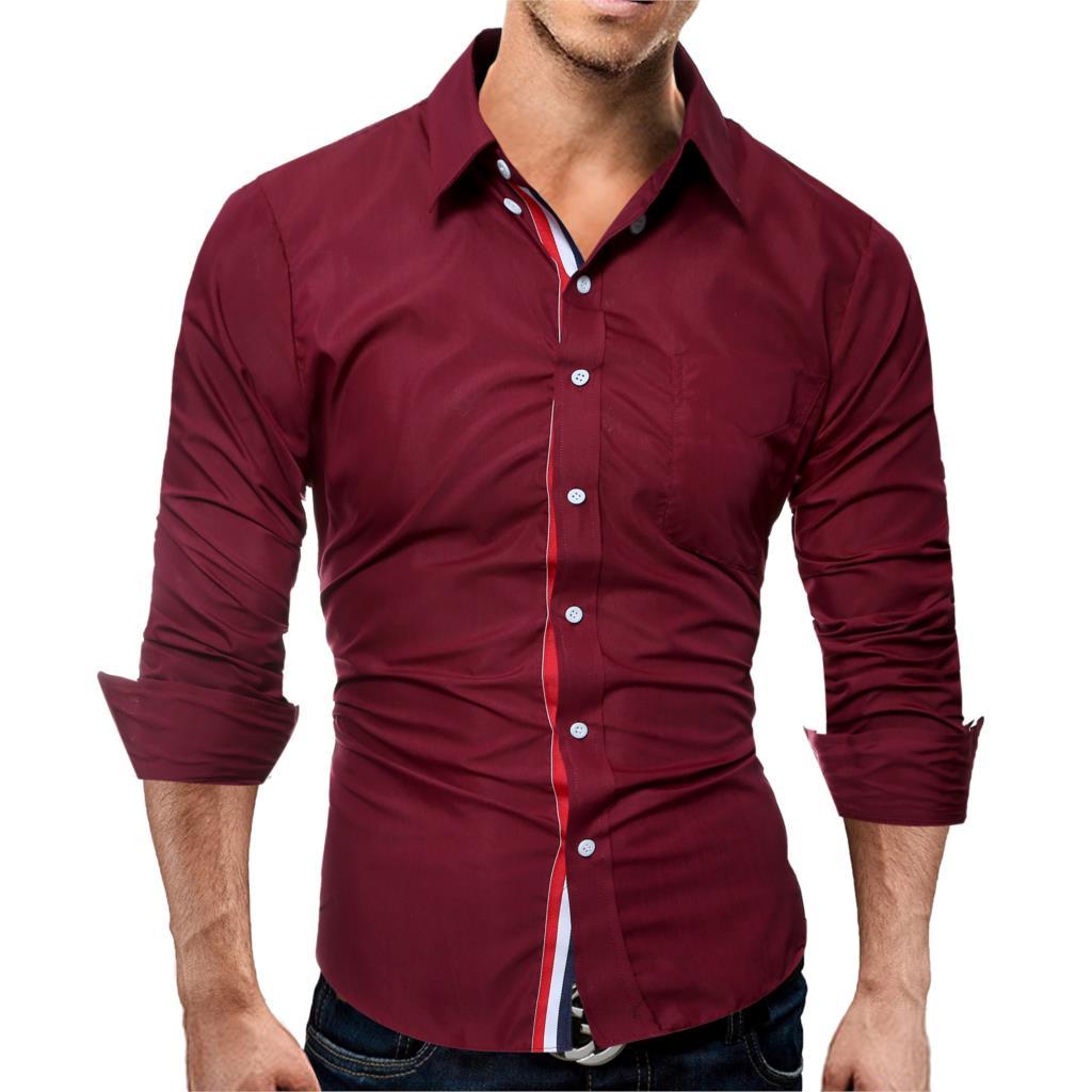 Brand 17 Fashion Male Shirt Long-Sleeves Tops Color Casual Mens Dress Shirts Slim Men Shirt 3XL ASDF 2