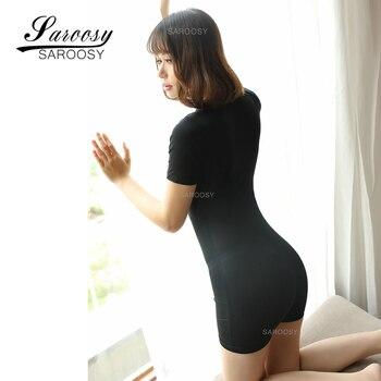 Smooth Fiber Double Zipper Short Sleeves Open Crotch Black Bodysuit 1