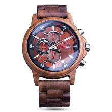 Casual Wooden Watches Men Watch Date Display Woody Band Bangle Reloj Hombre 2019 Quartz Male Hours Top Souvenir Gifts Timepieces