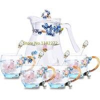 Стеклянная кружка для воды чайник бытовой цветочный чай сок чашки термостойкие