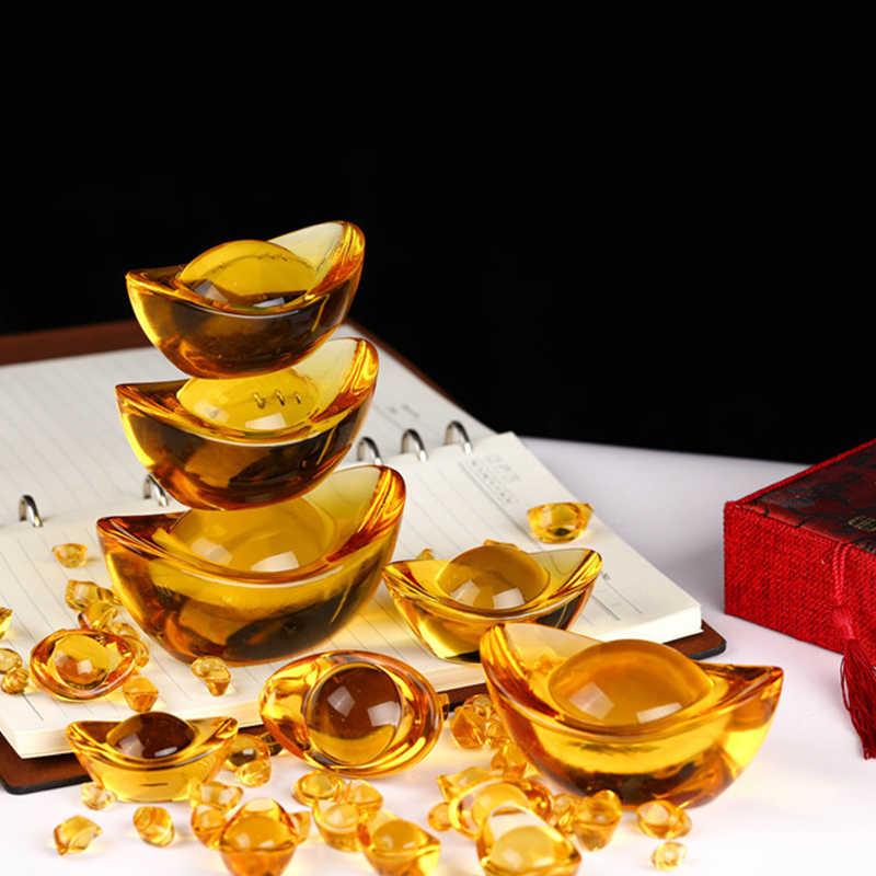 Decoração da casa lingote de citrino artificial chinês antigo ouro lingote chinês feng shui mascote dinheiro sorte fortuna riqueza