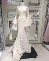 Fmogl Designer Flare Sleeve Lace Mermaid Wedding Dresses 2018 Delicate Beaded Bohemian Wedding Gown Vestido de Noiva Plus Size