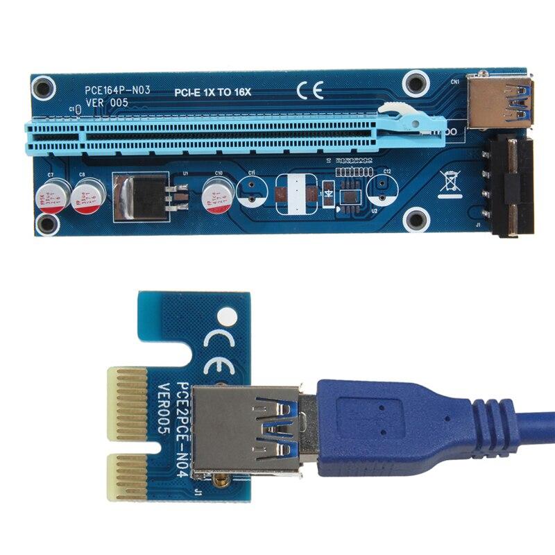 PCIe PCI-E Riser PCI Express Card 1x a 16x USB 3,0 Cable de datos SATA a 4Pin IDE Tarjeta de alimentación para BTC Miner Machine Miner Mining