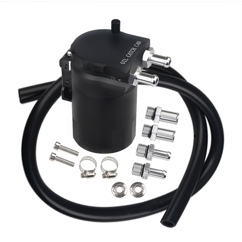 Round Aluminium Universal Oil Catch Tank Can Fuel Car Auto Aluminum Reservoir Oil Catch Tank Black 4 Colors