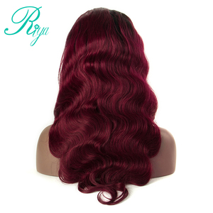 Image 2 - 13X4 #1B/99J Color Ombre Peruvian Human Hair Wigs Lace Frontal Body Wave Hair Wigs With Baby Hair Burgundy Remy Wig Riya