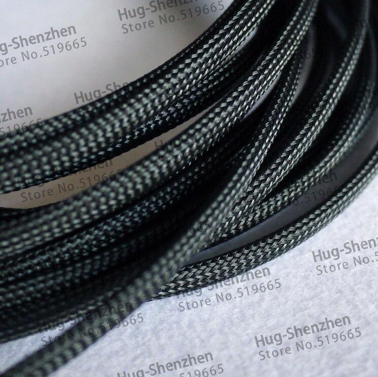 Купить с кэшбэком 200M long 6mm PET Expandable black Braided High dense pet Sleeving For Cable