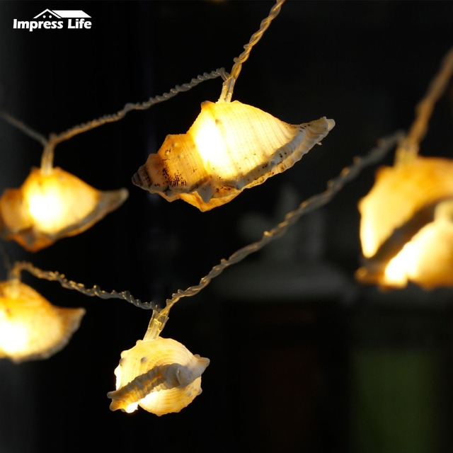 Real Conch Led String Lights 10ft Fairy Lighting Ocean Themed Indoor Tank New Year Wedding