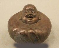 3 Chinese Buddhism Pure Bronze Happy Laugh Maitreya Buddha Statue Sculpture