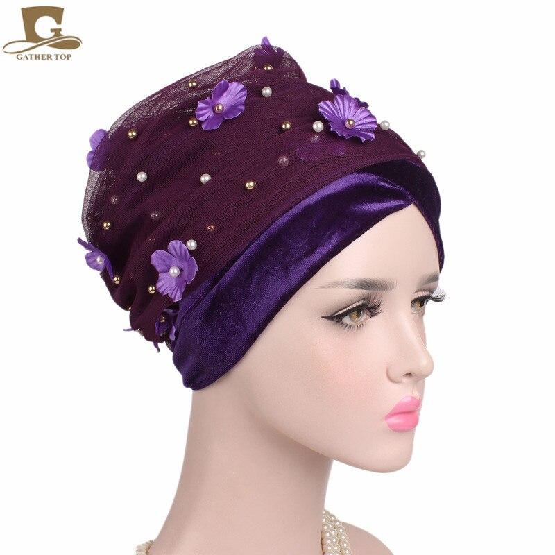 Nuovo 3D Fiore Lungo In Rilievo Della Maglia del Velluto Turban Testa Wrap Nigeriano Sciarpa Alla Moda Le Donne Dellafrica Hijab Signore Turbante