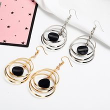 E059 Rock Punk Big Round Geometric Drop Metal Long Dangle Earrings For Women Bohemian Party Exaggerated Fashion Jewelry(China)