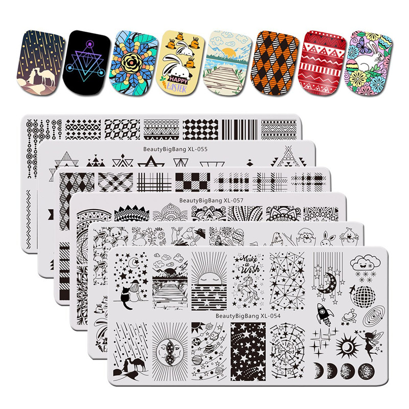 BeautyBigBang 6PCS/set Starry Geometry Theme Nail Stamping Plates Rectangle Pattern For Nails Templates Art Tools