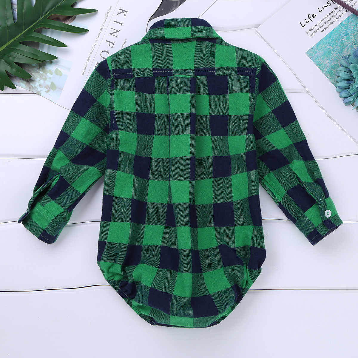 0874287a7af4f Baby Boy Clothes Bodysuit Long Sleeve Winter Infantil Bebe Boys Clothes  Plaid Button-up Shirt Bodysuits for First Birthday Party
