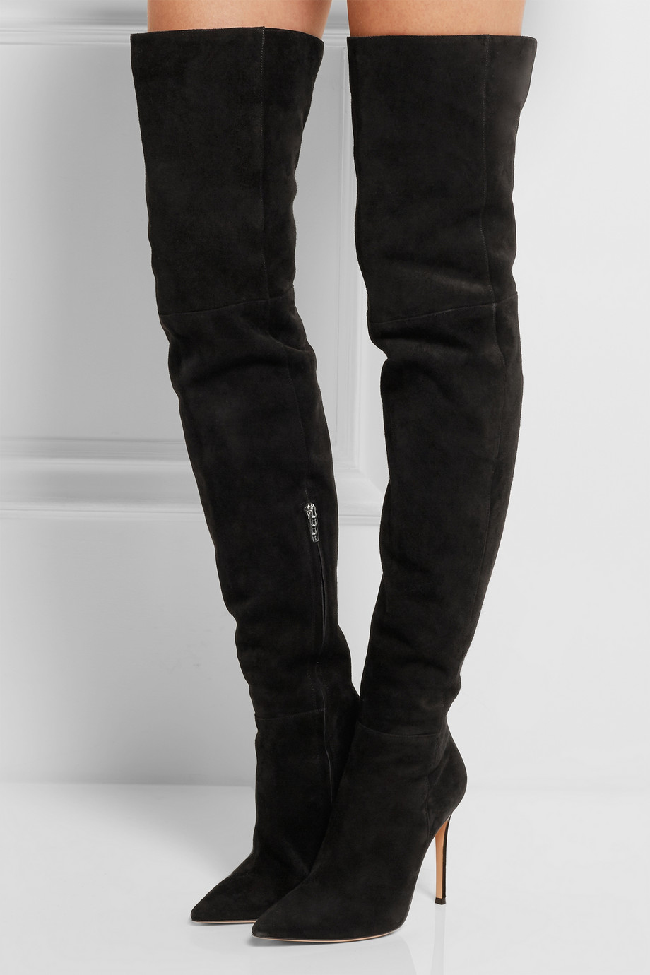 Autumn Winter Thigh High Boot Black Suede Over the Knee High Heel Boot Sexy Pointed Toe High Boot Side Zipper zapatos mujer