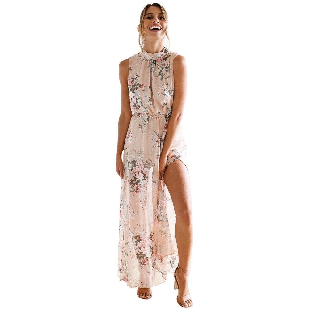 Femmes En Mousseline de Soie Robe D'été 2018 Nouveau Imprimé floral Sans Manches Dos Nu Boho Longue Robe Fendue La Fourche Plage Maxi Robes # VE
