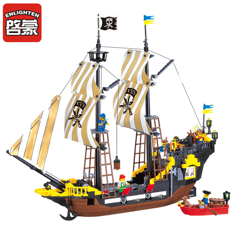 Enlighten Building blocks 590+pcs Pirate Ship Weapons Model Building Blocks Brick Educational Blocks Playmobil Toys for children enlighten building blocks navy frigate ship assembling building blocks military series blocks girls