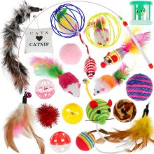 Yooap Cat toy 20PCS indoor mint cat ball feather stick interactive suit