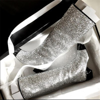 2017 Winter Woman Knee High Boots Comfort Thick Heel Side Zipper Sequins Boots Fashion Black Silver
