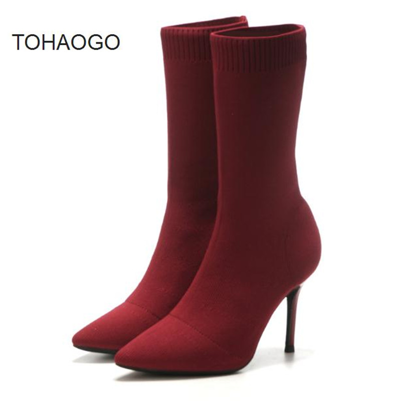 Socks boots 2018 autumn winter new knit skinny legs stretch boots high heel boots Wine red, silver fashion women boots boty