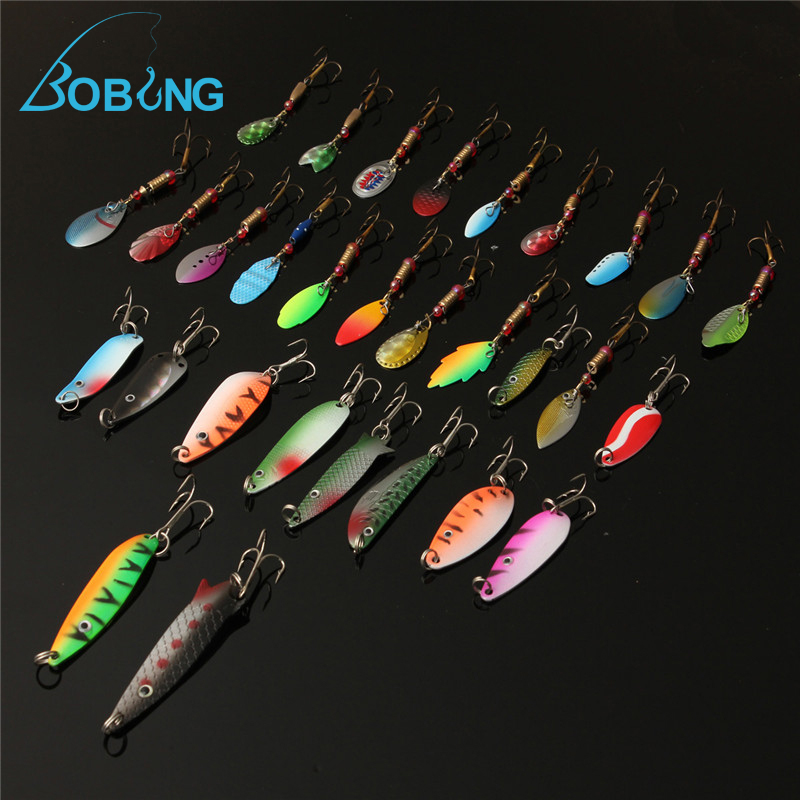 Bobing 30pcs/lot Fishing Lure accessories Minnow Spinner Spoon Metal Artificial Bait tackle Hooks Spinner Spinners 10pcs box metal spoon fishing lure hooks spinner baits sequins hard artificial jigging lure kits isca fishing tackle accessories