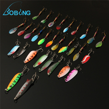 Bobing 30pcs/lot Fishing Lure accessories Minnow Spinner Spoon Metal Artificial Bait tackle Hooks Spinner Spinners