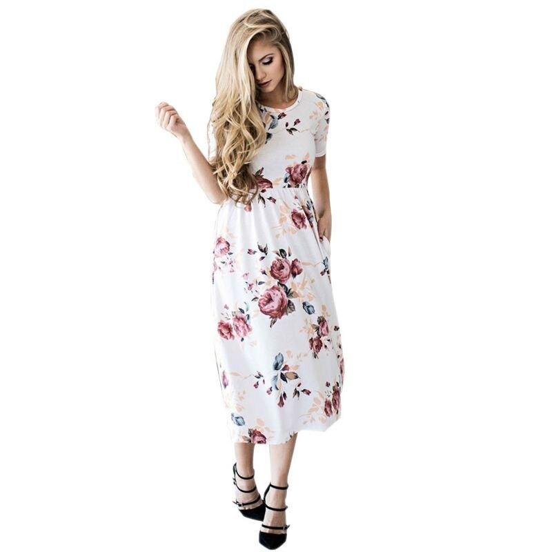 2017 mujeres floral dress ladies beach dress bohemia de manga corta de cuello re